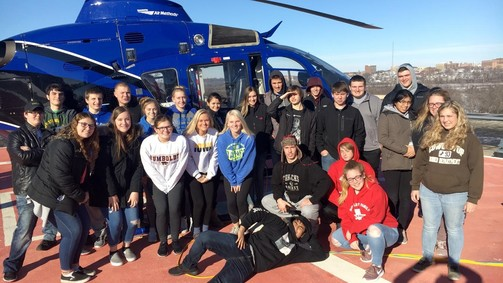 First Aid Class tours the Unity Point Life-flight Helicopter