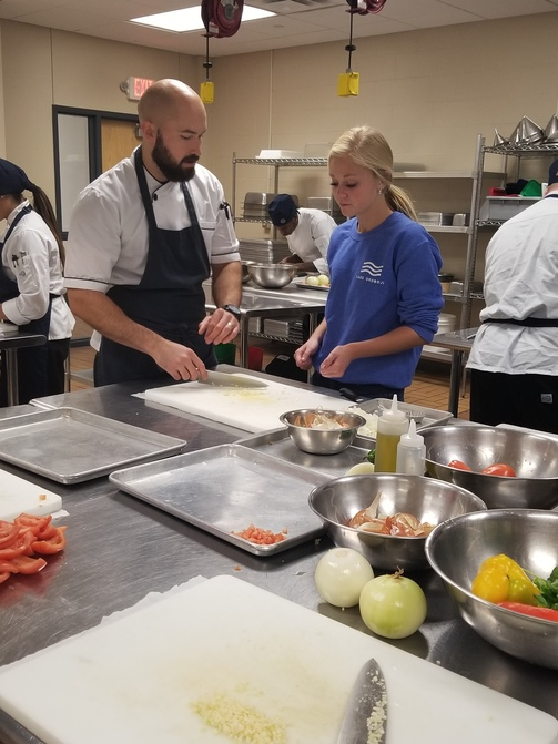 HS Foods students at Iowa Central's Culinary Lab.