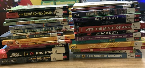 A few of the new books at Taft. Thank you for supporting our Book Fair!